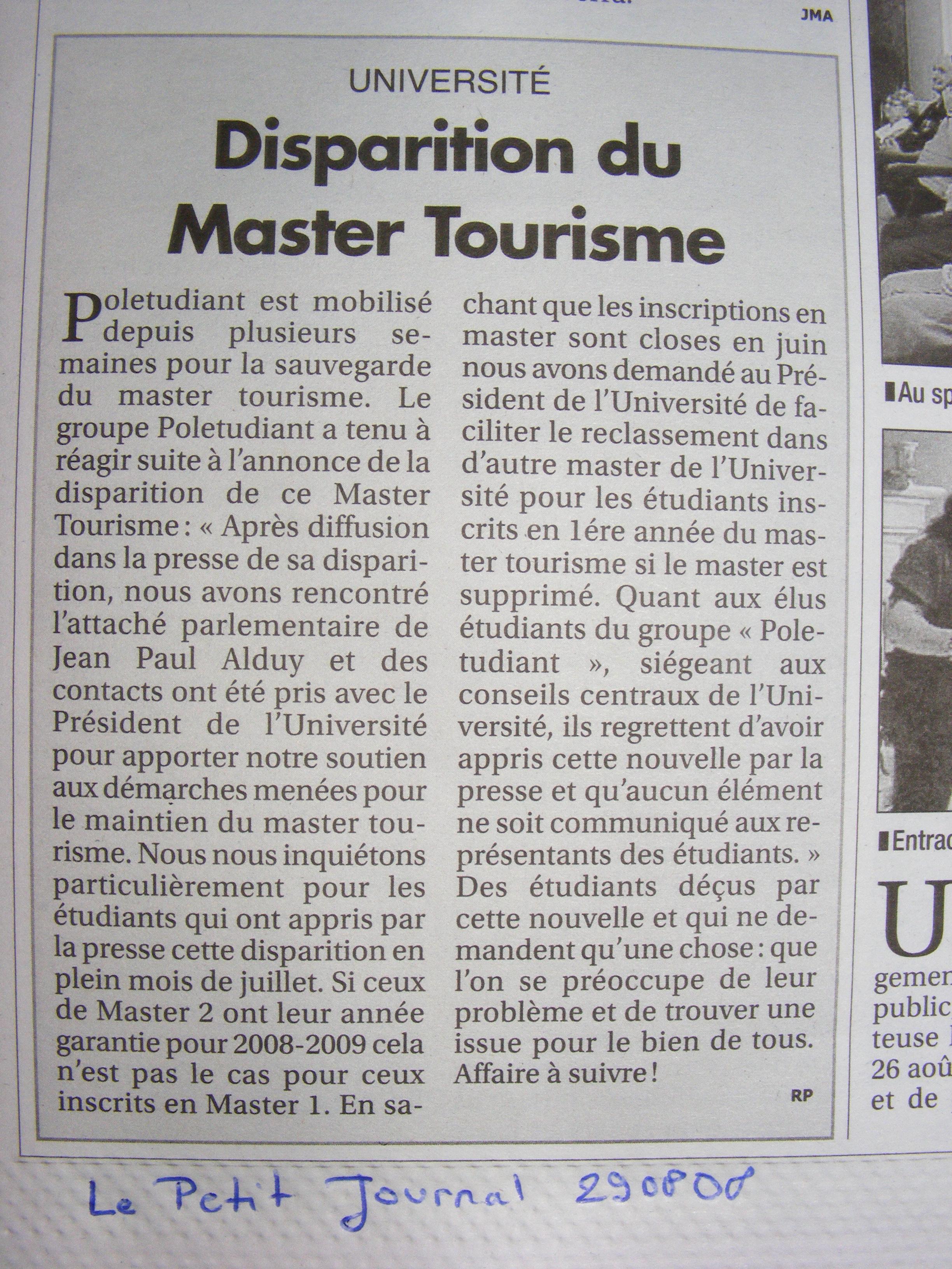 mastertourisme